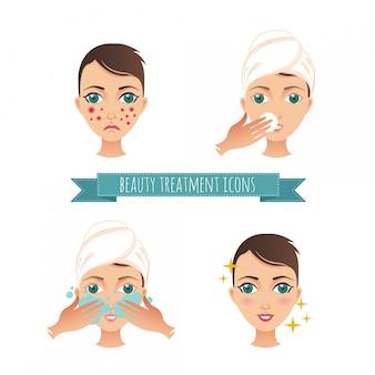 Ilustração de cuidados de beleza, tratamento de acne, demodicose