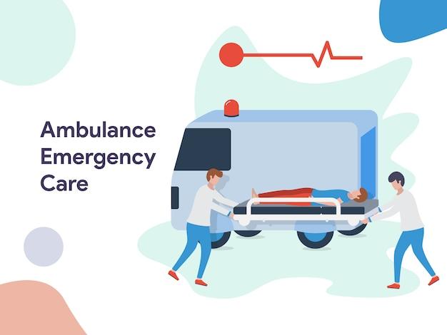 Ilustração de cuidados de emergência de ambulância