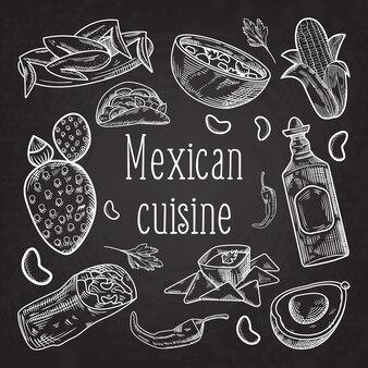 Ilustração de culinária mexicana desenhada à mão