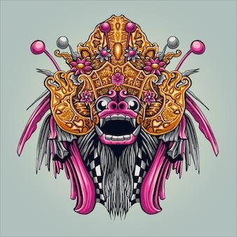 Ilustração de cultura indonésia bali barong
