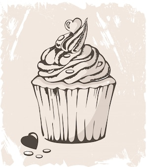 Ilustração de cupcake com coração em pastel