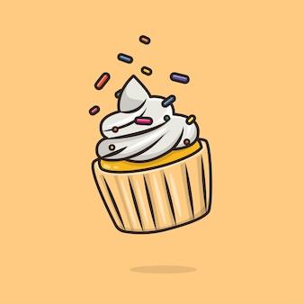 Ilustração de cupcake kawaii fofo