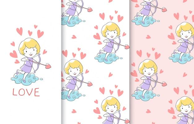 Ilustração de cupido pequeno bonito, cartão e padrão sem emenda.