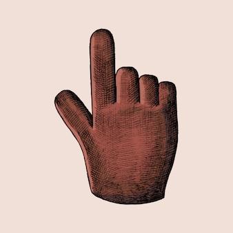 Ilustração de cursor de mão vermelha desenhada à mão