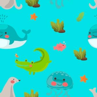 Ilustração, de, cute, animais aquáticos, em, a, água