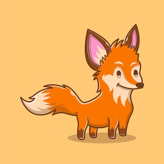 Ilustração de cute fox. conceito do logotipo do animal. estilo de desenho plano