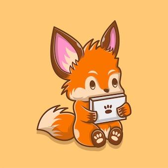 Ilustração de cute fox jogando gadget. conceito do logotipo do animal. estilo de desenho plano