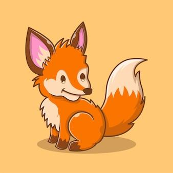 Ilustração de cute fox sentado. conceito do logotipo do animal. estilo de desenho plano