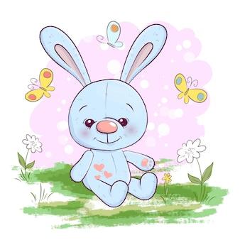 Ilustração, de, cute, pequeno, lebre, flores, e, borboletas