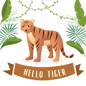 Ilustração, de, cute, tigre