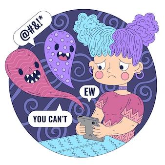 Ilustração de cyber bullying