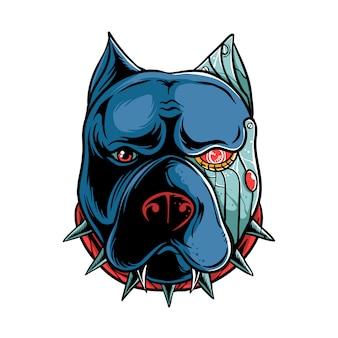 Ilustração de cyborg pitbull