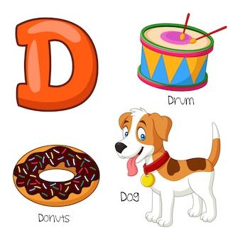 Ilustração, de, d, alfabeto