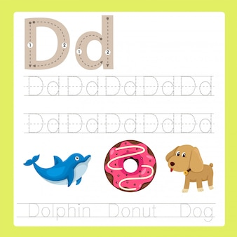 Ilustração de d exercício vocabulário de desenhos animados az