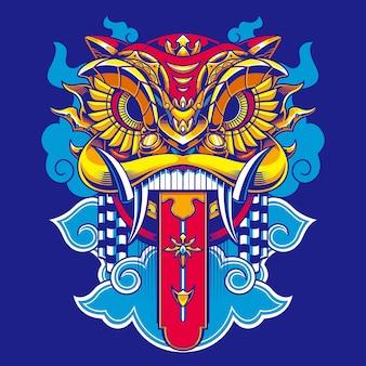 Ilustração de dança do leão barong