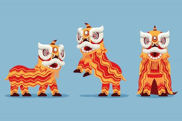 Ilustração de dança tradicional chinesa acrobática do leão