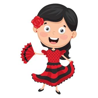 Ilustração de dançarina de flamenco