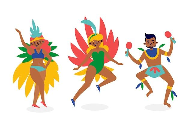 Ilustração de dançarinos de carnaval brasileiro