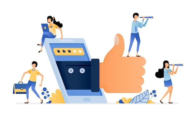 Ilustração de dar sinal de positivo para o serviço de aplicativos