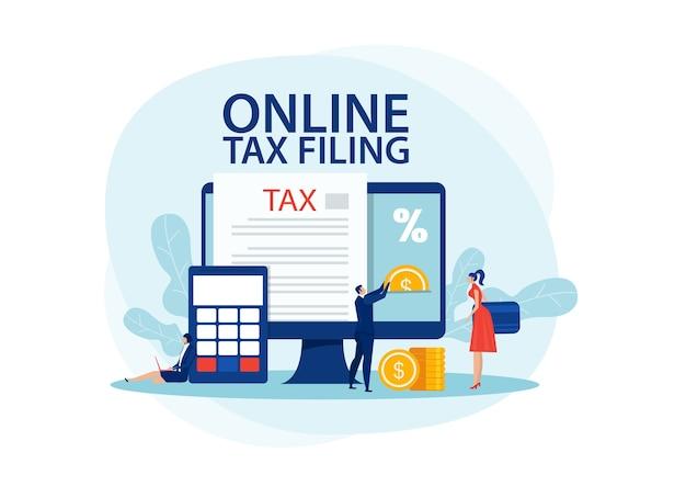 Ilustração de declaração de impostos online,