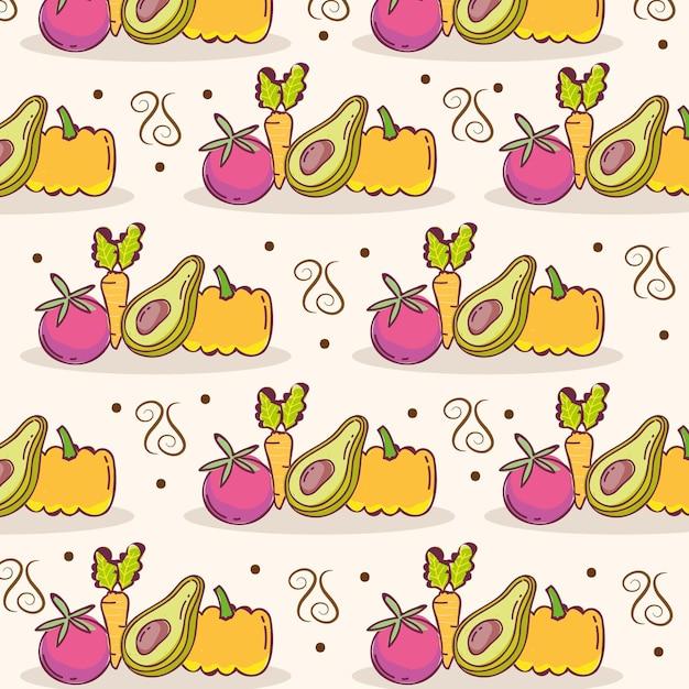 Ilustração de decoração de abóbora, tomate e abacate padrão de comida
