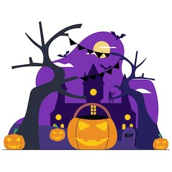 Ilustração de decoração para halloween flat