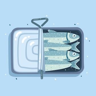 Ilustração de deliciosa sardinha desenhada à mão