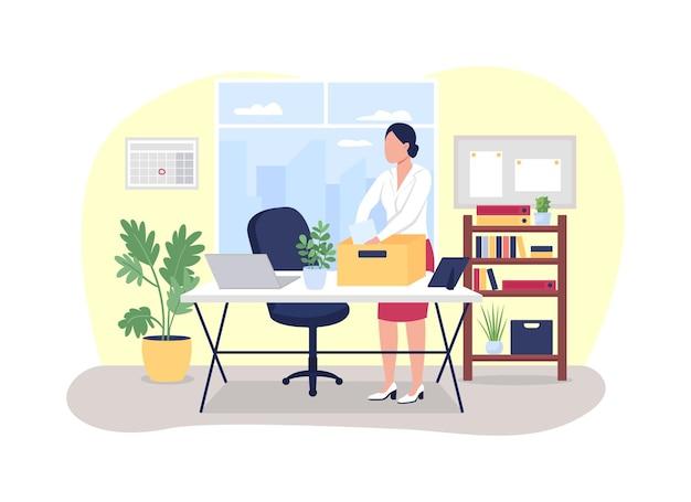 Ilustração de demissão de trabalho. mulher coleta artigos de papelaria da mesa de trabalho.