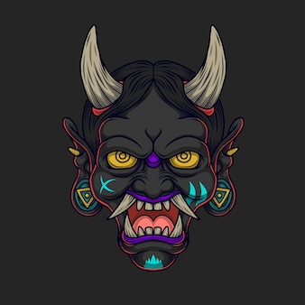 Ilustração de demônio do japão negro