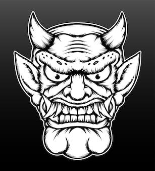 Ilustração de demônio japonês monocromática.