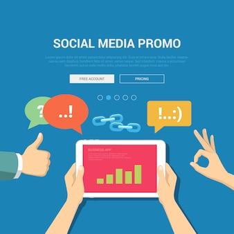 Ilustração de demonstração de promoção de mídia social