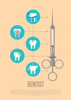 Ilustração de dentista com símbolos de seringa e dente