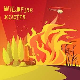 Ilustração de desastre de incêndio florestal