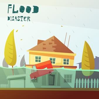 Ilustração de desastre de inundação
