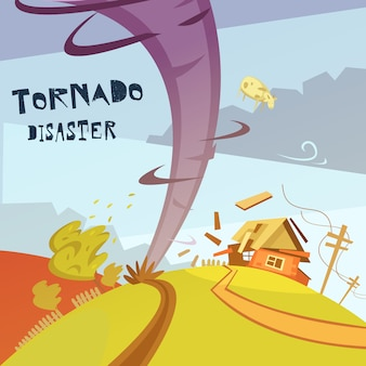 Ilustração de desastre de tornado