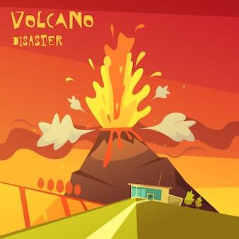 Ilustração de desastre de vulcão