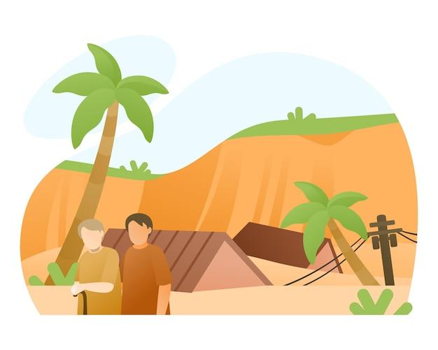 Ilustração de desastre natural de deslizamento de terras