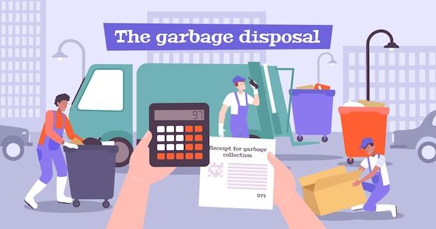 Ilustração de descarte de lixo