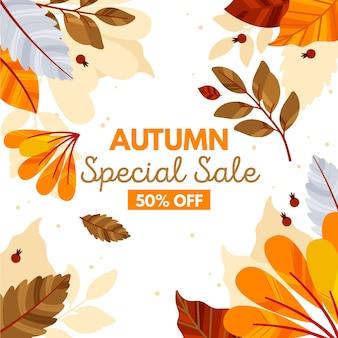 Ilustração de descontos em promoção de outono