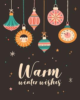 Ilustração de desejos de inverno quente