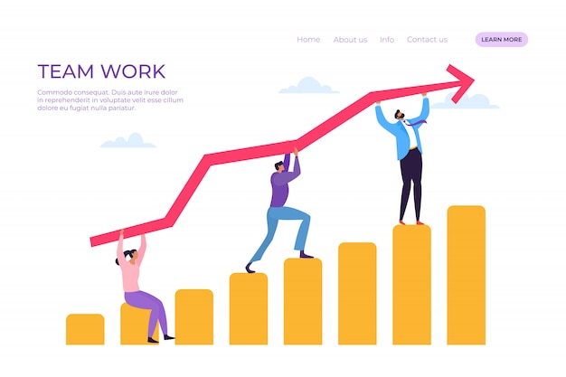 Ilustração de desembarque de trabalho de equipe de negócios. as pessoas do grupo alcançam objetivos comuns, geram idéias bem-sucedidas, colaboram.