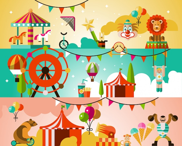 Ilustração de desempenho de circo
