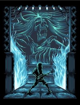 Ilustração de desempenho do guitarrista