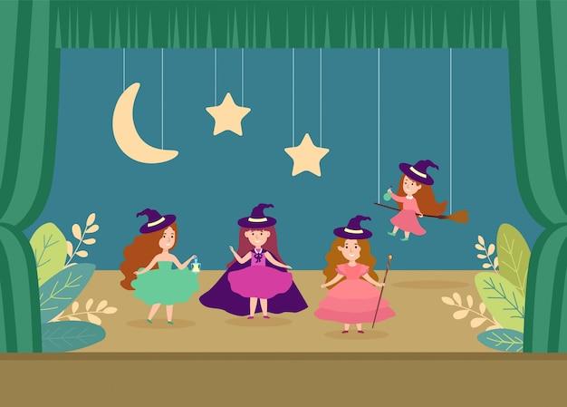 Ilustração de desempenho do teatro escolar de caráter jovem. crianças magia menina lançando arte feitiçaria.