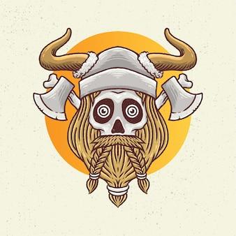 Ilustração de desenho a mão com arte de linha áspera, conceito de esqueleto bigode e estilo de barba viking com machado