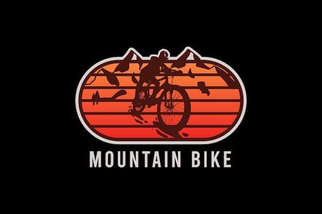 Ilustração de desenho à mão de bicicleta de montanha, estilo vintage retrô