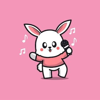 Ilustração de desenho animado a cantar coelho fofo