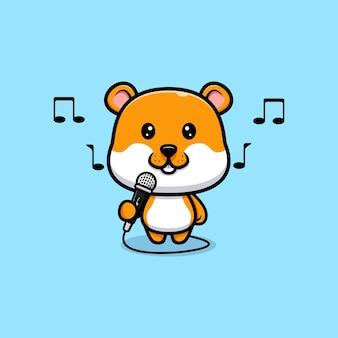 Ilustração de desenho animado a cantar de hamster fofo