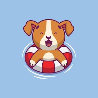 Ilustração de desenho animado a natação de cachorro fofo
