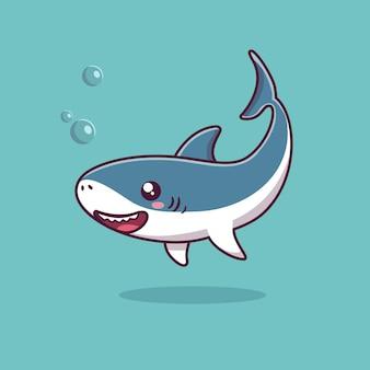 Ilustração de desenho animado a natação de tubarão fofo